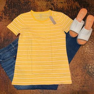 NWT J. Crew Gold/Yellow Stripe Crewneck T-Shirt